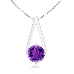 Flat Prong-Set Solitaire Amethyst Triangle Pendant
