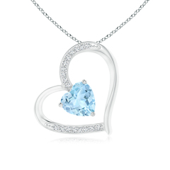 Solitaire Aquamarine Tilted Heart Pendant with Pave Diamonds