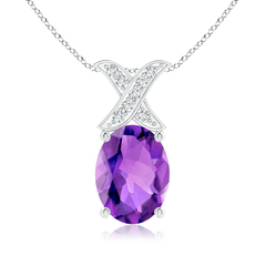Solitaire Oval Amethyst and Diamond XO Pendant