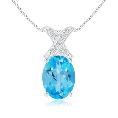 Solitaire Oval Swiss Blue Topaz and Diamond XO Pendant