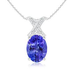 Solitaire Oval Tanzanite and Diamond XO Pendant