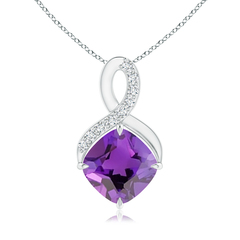 Solitaire Claw Cushion Amethyst Infinity Symbol Pendant with Diamonds
