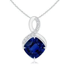 Sapphire and Diamond Infinity Pendant (GIA Certified Sapphire)