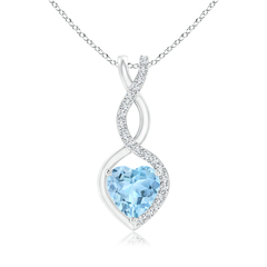 Floating Aquamarine Infinity Heart Pendant with Diamond Accents