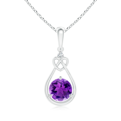 Floating Drop Amethyst Knotted Heart Necklace with Diamond