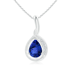 Pear Tanzanite Solitaire Pendant with Diamond Accents