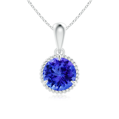 Rope Framed Claw-Set Tanzanite Solitaire Dangle Pendant
