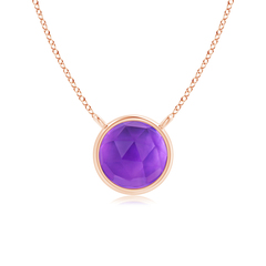 Bezel Set Round Amethyst Solitaire Necklace