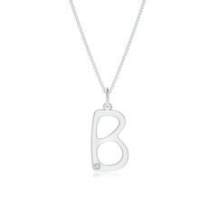 "Gypsy Set Diamond Capital ""B"" Initial Pendant"