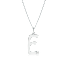 "Gypsy Set Diamond Capital ""E"" Initial Pendant"