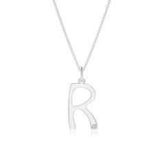 "Gypsy Set Diamond Capital ""R"" Initial Pendant"