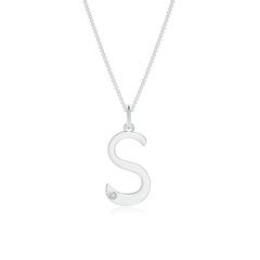 "Gypsy Set Diamond Capital ""S"" Initial Pendant"