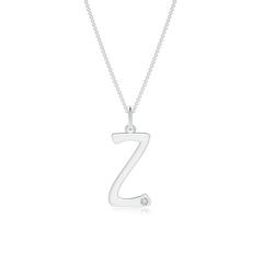 """Gypsy Set Diamond Capital """"Z"""" Initial Pendant"""