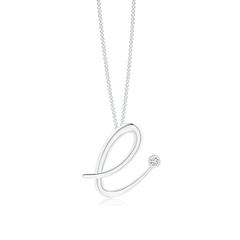"""Bezel Set Diamond Lowercase """"E"""" Initial Pendant"""