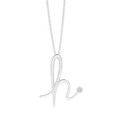 "Bezel Set Diamond Lowercase ""H"" Initial Pendant"