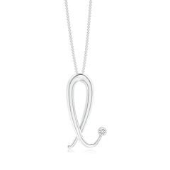 "Bezel Set Diamond Lowercase ""L"" Initial Pendant"