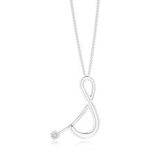 "Bezel Set Diamond Lowercase ""S"" Initial Pendant"
