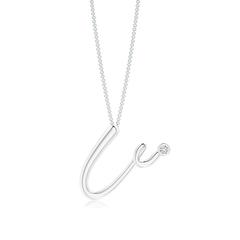 "Bezel Set Diamond Lowercase ""U"" Initial Pendant"