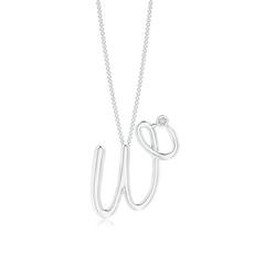 "Bezel Set Diamond Lowercase ""W"" Initial Pendant"