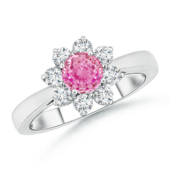 Tapered Shank Pink Sapphire and Diamond Flower Ring