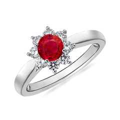 Tapered Shank Ruby and Diamond Flower Ring