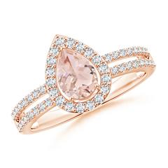 Split Shank Pear Morganite and Diamond Halo Ring