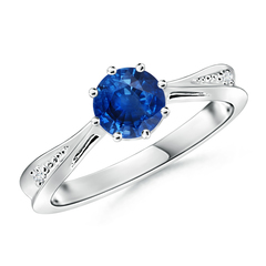 Tapered Shank Blue Sapphire Solitaire Ring with Diamond Accent