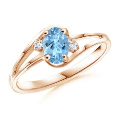Split Shank Solitaire Oval Aquamarine and Diamond Ring