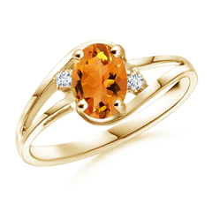 Split Shank Solitaire Oval Citrine and Diamond Ring