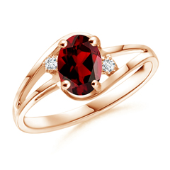 Split Shank Solitaire Oval Garnet and Diamond Ring