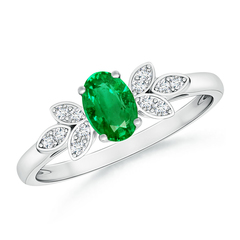 Vintage Oval Solitaire Emerald Ring with Diamond Accents