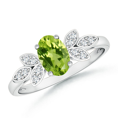 Vintage Oval Solitaire Peridot Ring with Diamond Accents