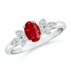 Vintage Oval Solitaire Ruby Ring with Diamond Accents