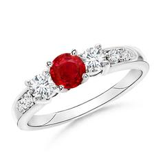 Three Stone Ruby and Diamond Ring