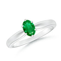 6 Prong Tapered Shank Oval Solitaire Emerald Ring