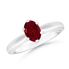 6 Prong Tapered Shank Oval Solitaire Garnet Ring
