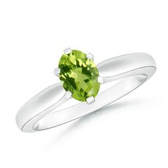 6 Prong Tapered Shank Oval Solitaire Peridot Ring