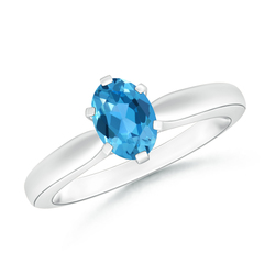 6 Prong Tapered Shank Oval Solitaire Swiss Blue Topaz Ring