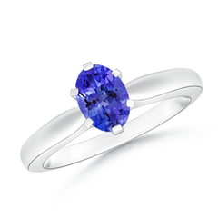 6 Prong Tapered Shank Oval Solitaire Tanzanite Ring