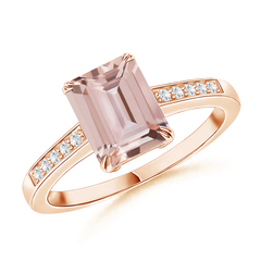 Double Claw-Set Morganite Solitaire Ring with Diamond Accent