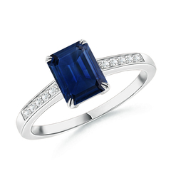 Claw-Set Emerald Cut Sapphire Cocktail Ring with Diamond Accent
