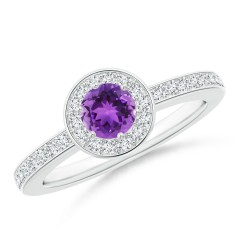 Round Amethyst Halo Ring with Diamond Accent