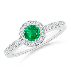 Round Emerald Halo Ring with Diamond Accent