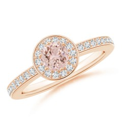Round Morganite Halo Ring with Diamond Accents
