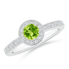 Round Peridot Halo Ring with Diamond Accent