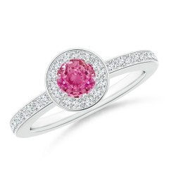 Round Pink Sapphire Halo Ring with Diamond Accent
