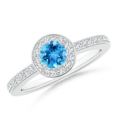 Round Swiss Blue Topaz Halo Ring with Diamond Accent