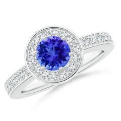Round Tanzanite Halo Ring with Diamond Accent