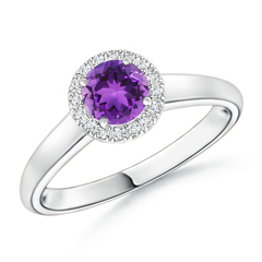 Classic Round Amethyst and Diamond Halo Ring