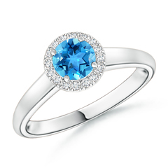 Classic Round Swiss Blue Topaz and Diamond Halo Ring